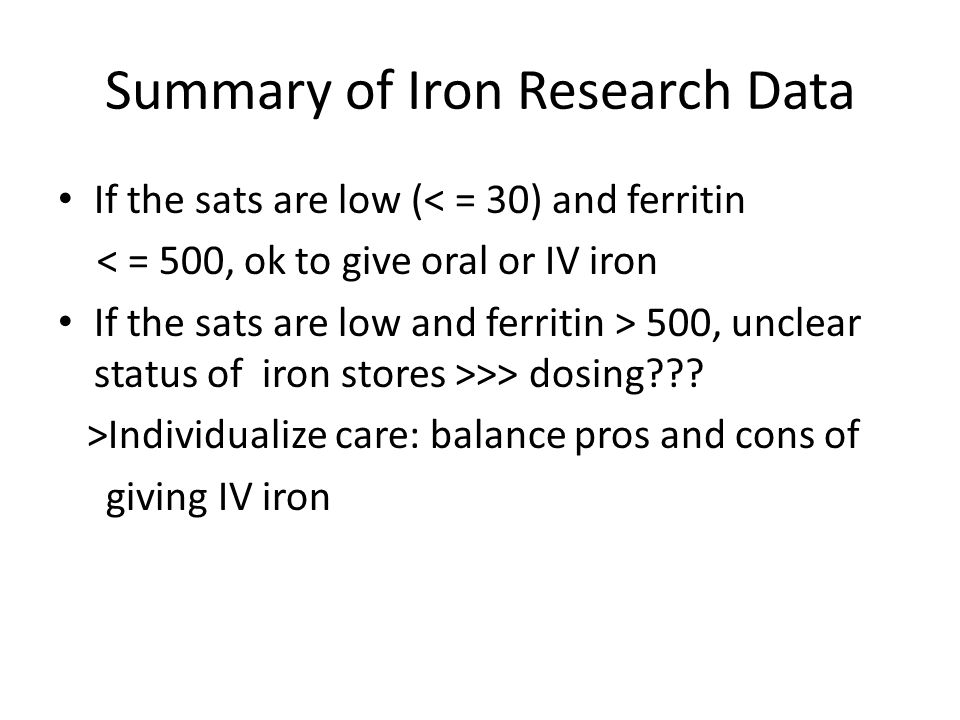 Summary of Iron Research Data
