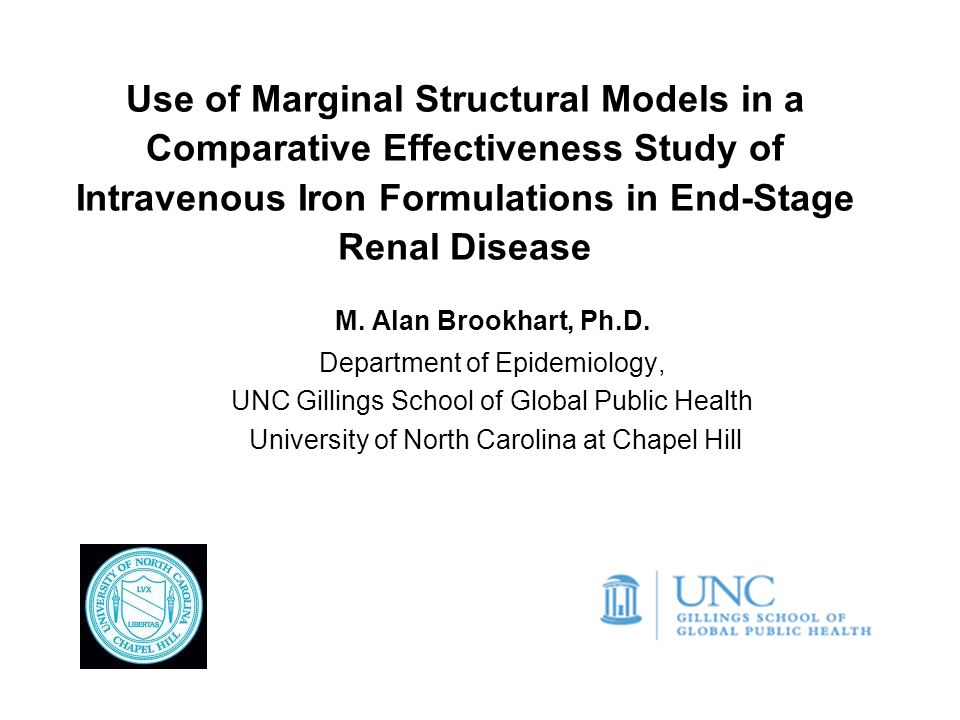 Use of Marginal Structural Models in a Comparative Effectiveness Study of Intravenous Iron Formulations in End-Stage Renal Disease