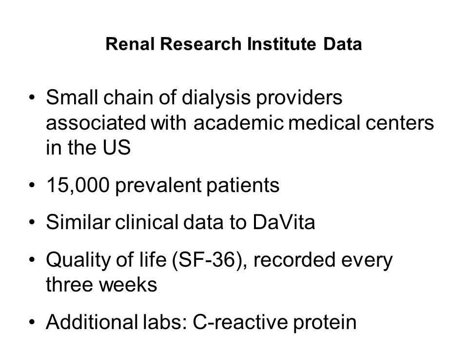 Renal Research Institute Data
