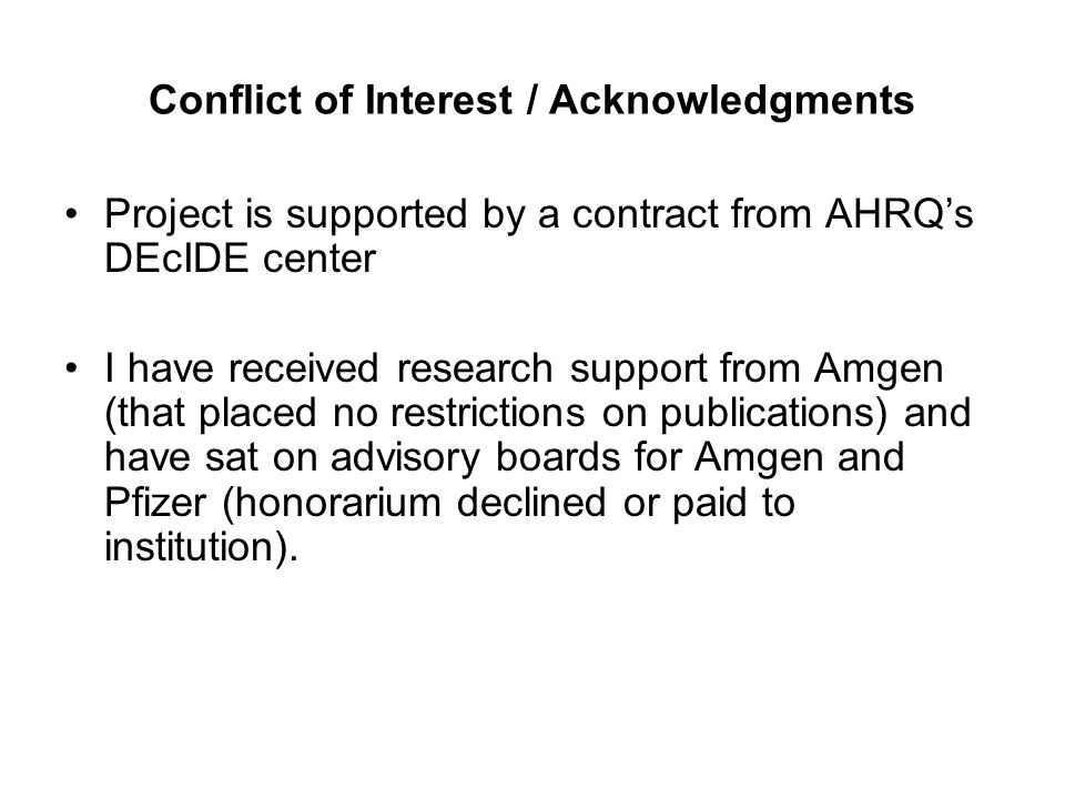 Conflict of Interest / Acknowledgments