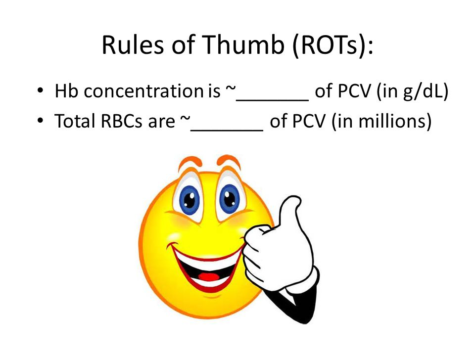 Rules of Thumb (ROTs): Hb concentration is ~_______ of PCV (in g/dL)