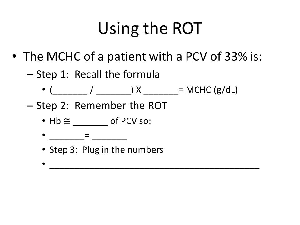 Using the ROT The MCHC of a patient with a PCV of 33% is: