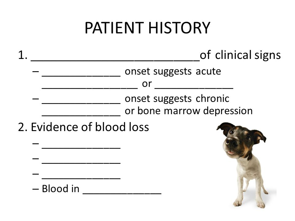 PATIENT HISTORY 1. __________________________of clinical signs