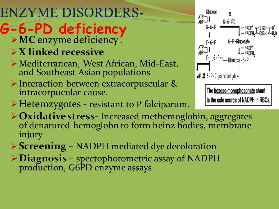 ENZYME DISORDERS- G-6-PD deficiency