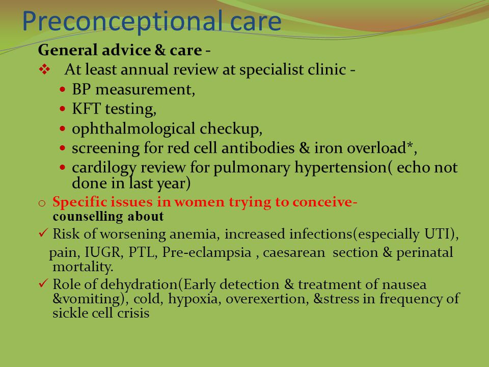 Preconceptional care General advice & care -