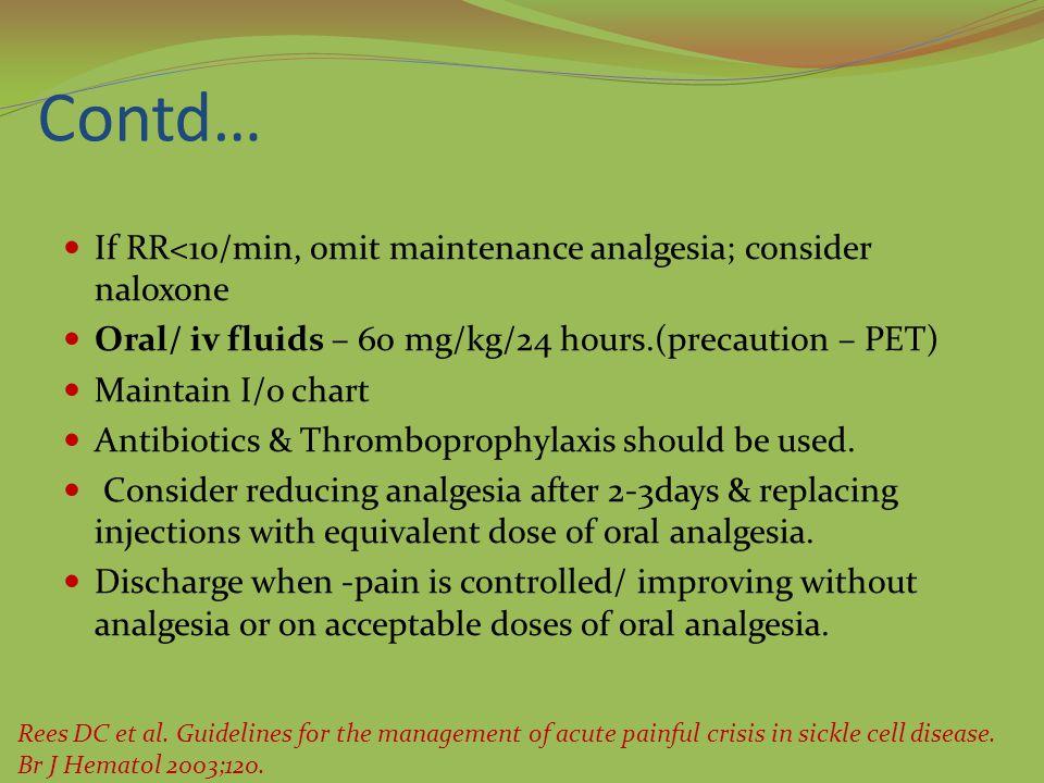 Contd… If RR<10/min, omit maintenance analgesia; consider naloxone