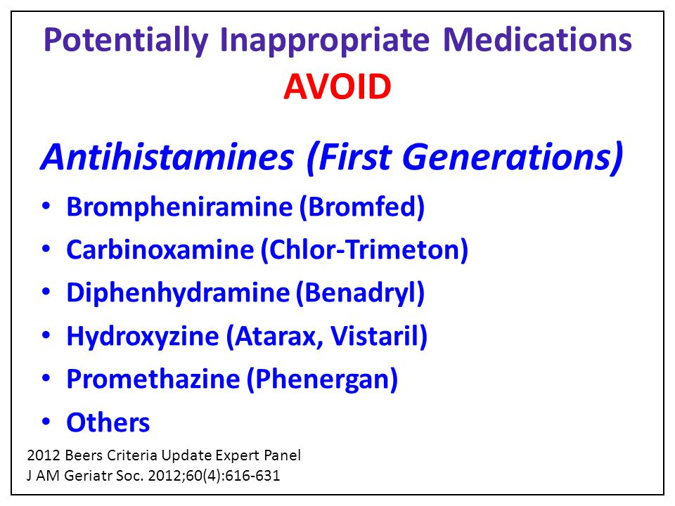 Potentially Inappropriate Medications AVOID