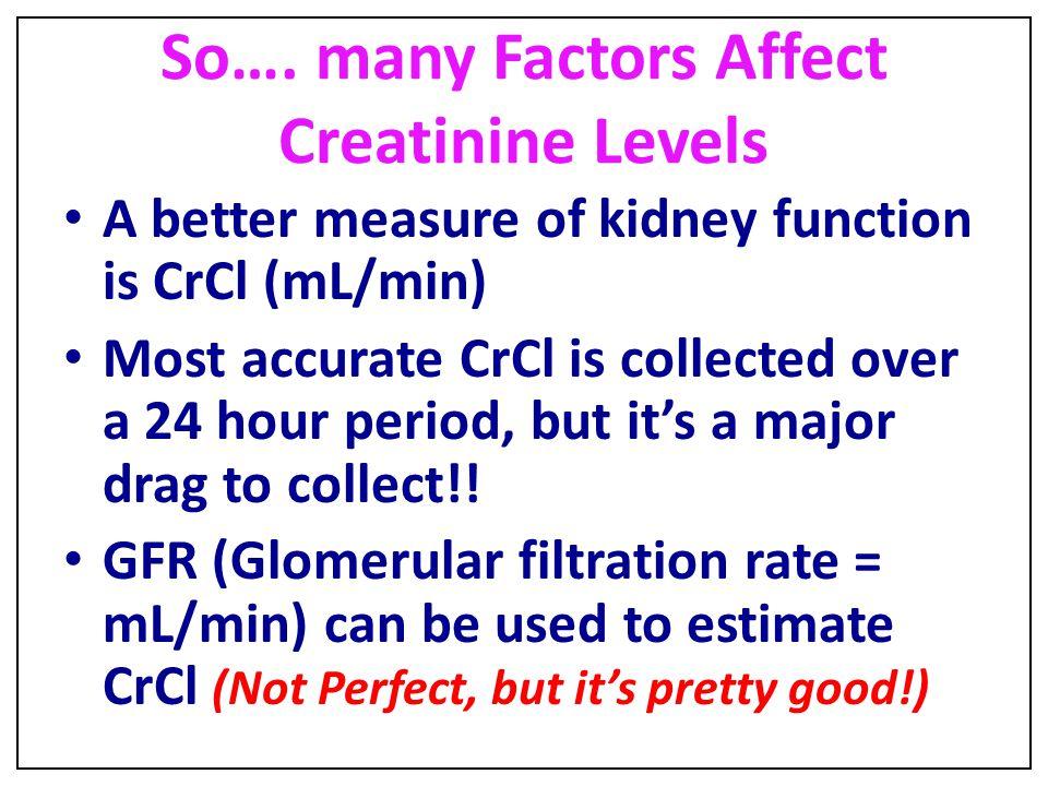 So…. many Factors Affect Creatinine Levels