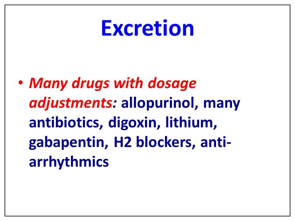 Excretion Many drugs with dosage adjustments: allopurinol, many antibiotics, digoxin, lithium, gabapentin, H2 blockers, anti-arrhythmics.
