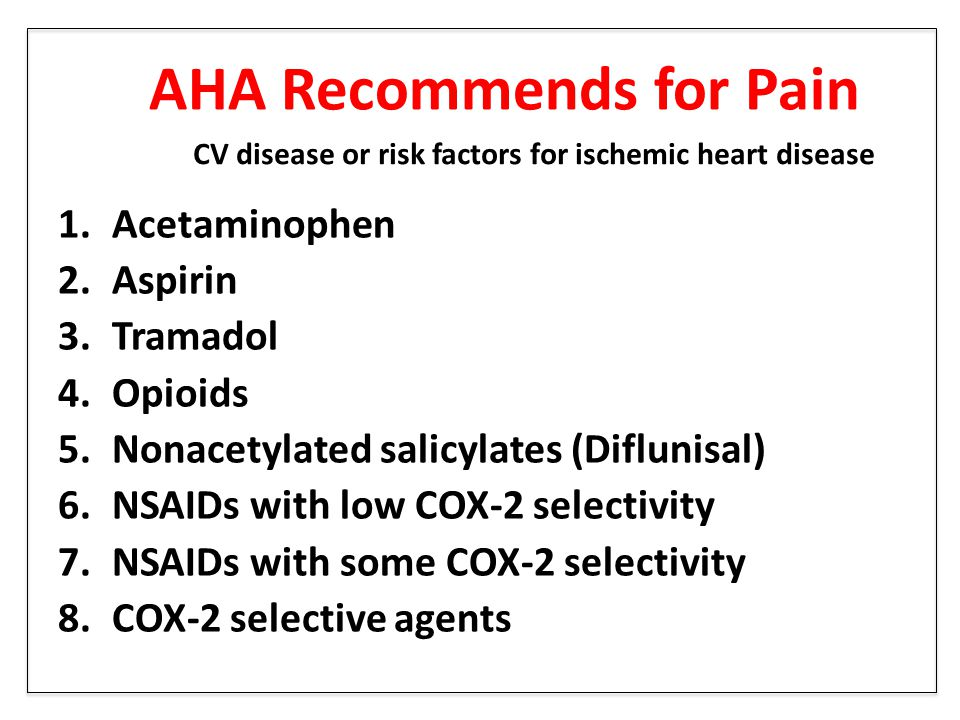 AHA Recommends for Pain