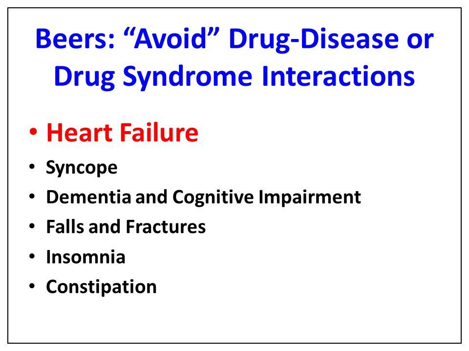 Beers: Avoid Drug-Disease or Drug Syndrome Interactions