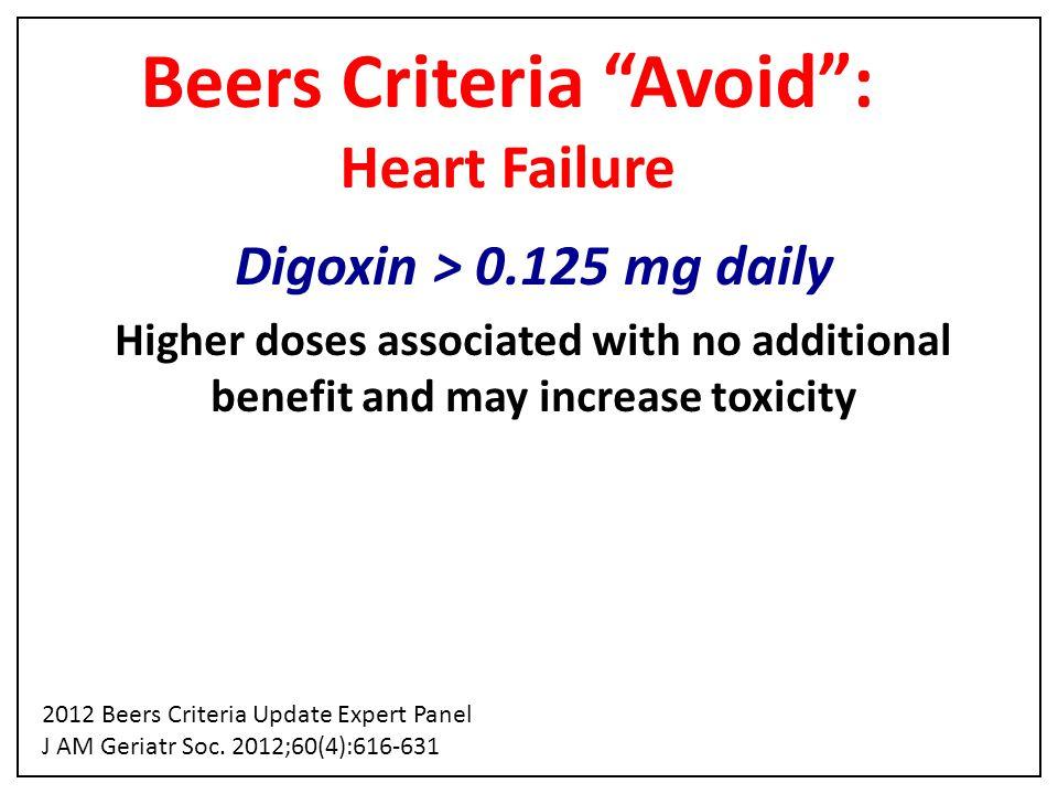 Beers Criteria Avoid : Heart Failure