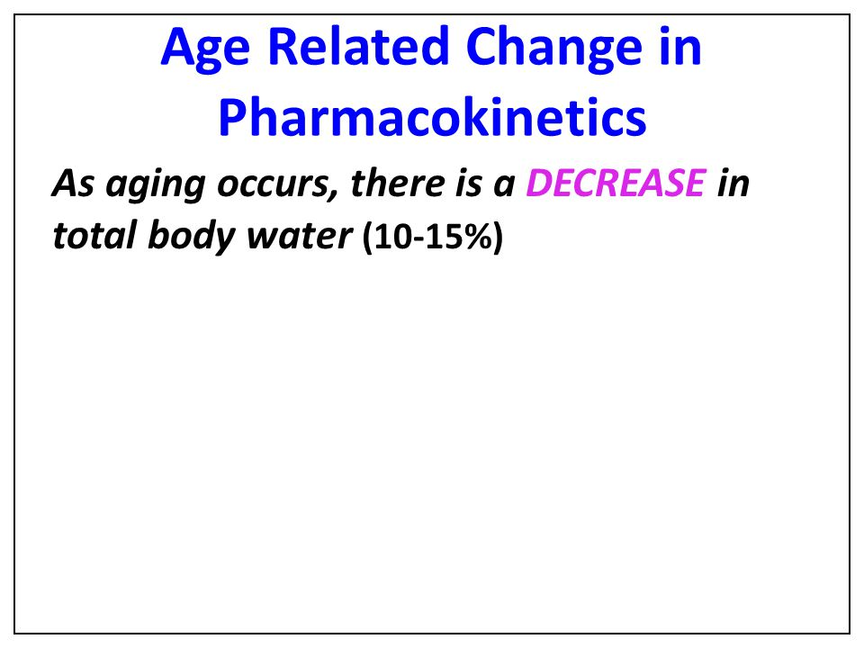 Age Related Change in Pharmacokinetics