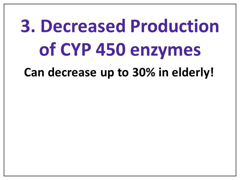 3. Decreased Production of CYP 450 enzymes
