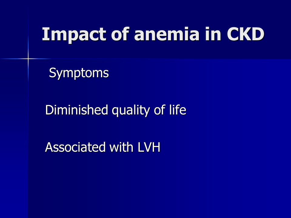 Impact of anemia in CKD Symptoms Diminished quality of life