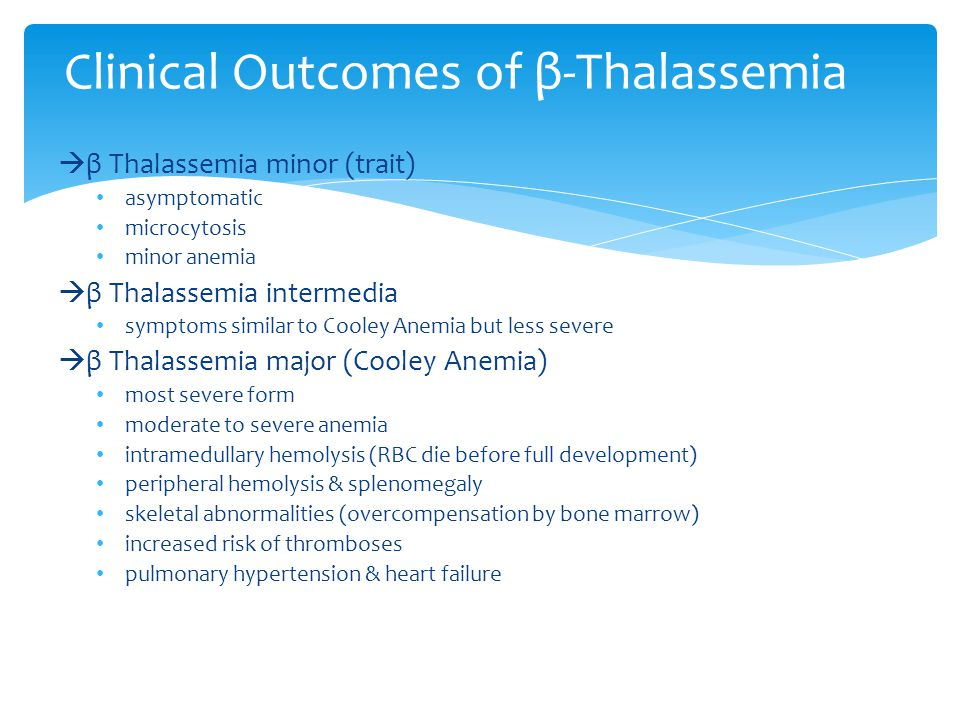 Clinical Outcomes of β-Thalassemia