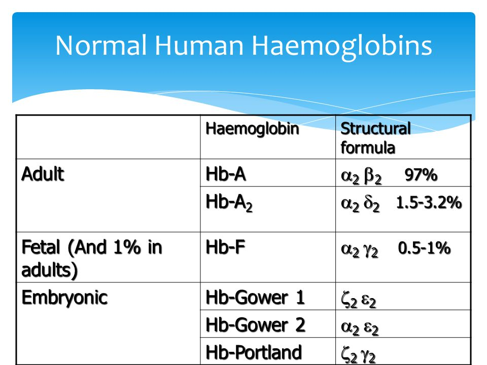 Normal Human Haemoglobins