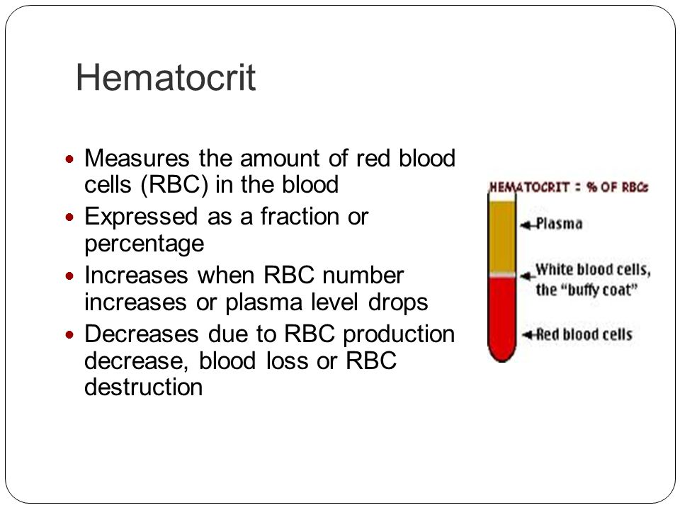 Hematocrit Measures the amount of red blood cells (RBC) in the blood