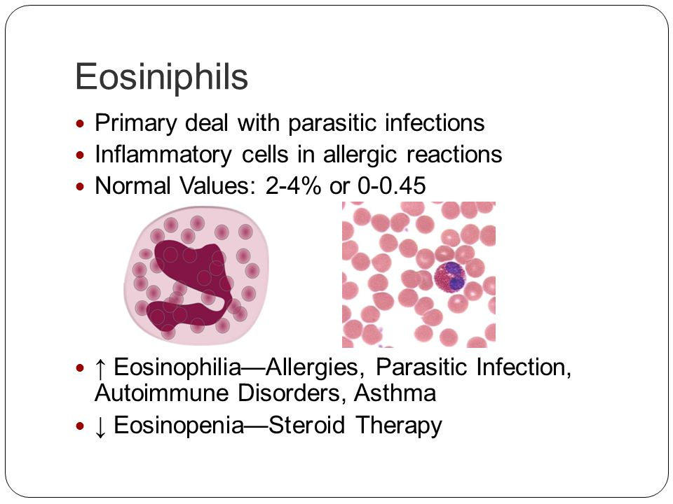 Eosiniphils Primary deal with parasitic infections