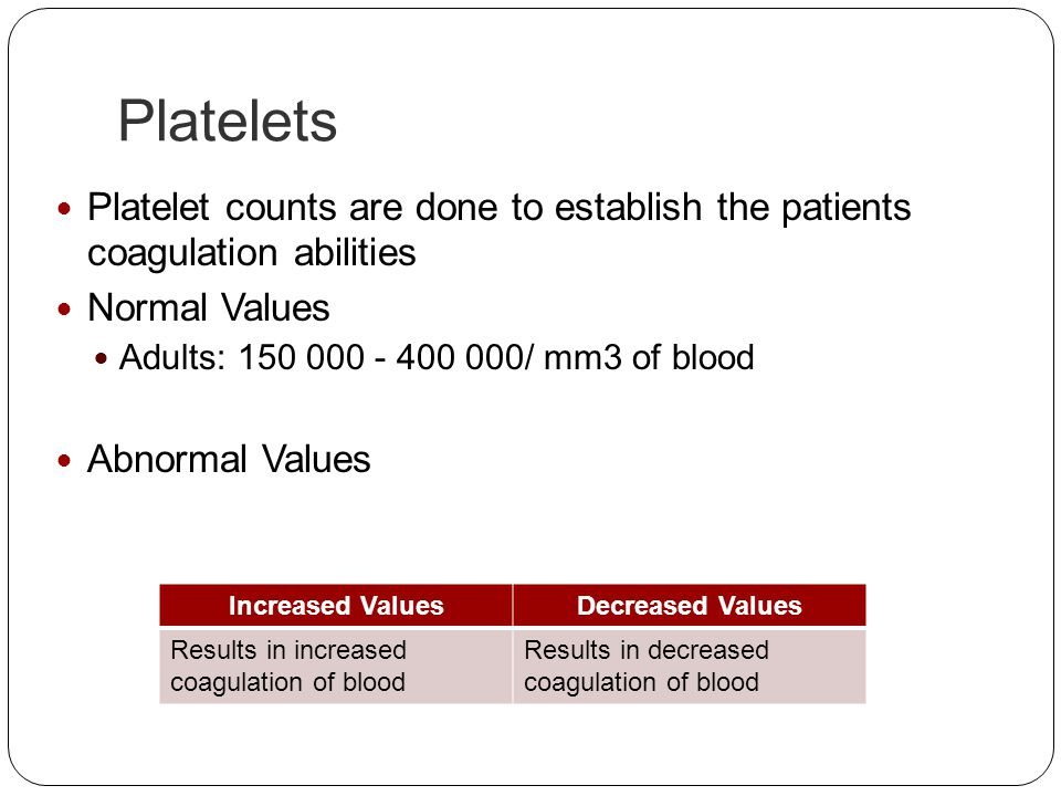 Platelets Platelet counts are done to establish the patients coagulation abilities. Normal Values.