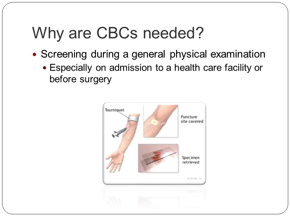 Why are CBCs needed Screening during a general physical examination