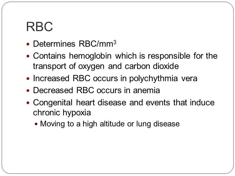 RBC Determines RBC/mm3. Contains hemoglobin which is responsible for the transport of oxygen and carbon dioxide.