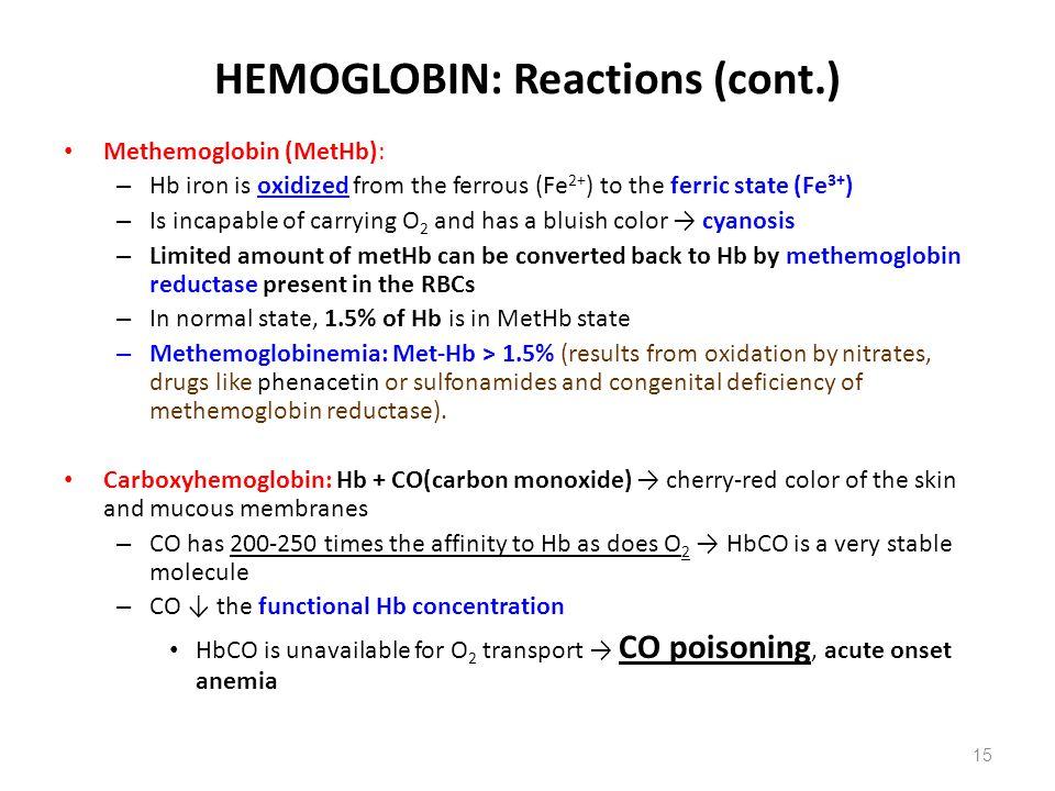 HEMOGLOBIN: Reactions (cont.)
