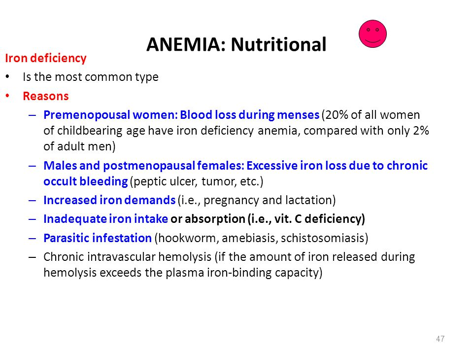 ANEMIA: Nutritional Iron deficiency Is the most common type Reasons