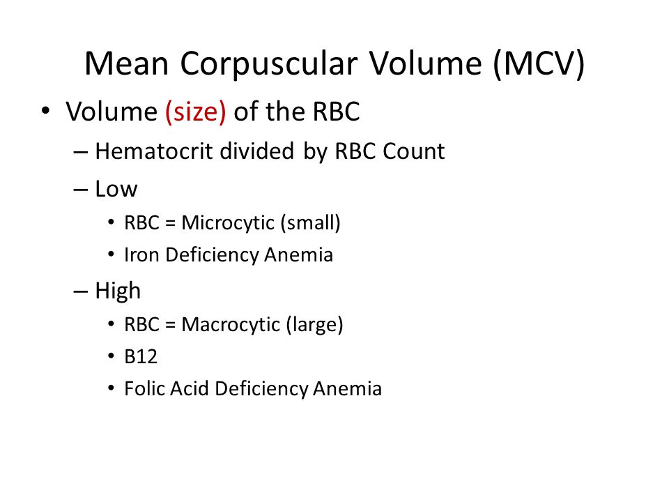Mean Corpuscular Volume (MCV)