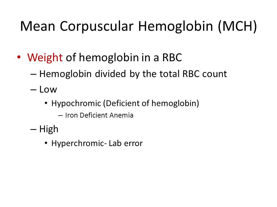 Mean Corpuscular Hemoglobin (MCH)