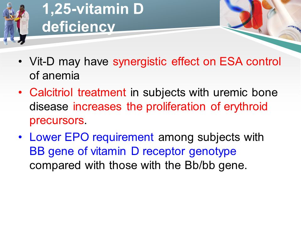1,25-vitamin D deficiency Vit-D may have synergistic effect on ESA control of anemia.