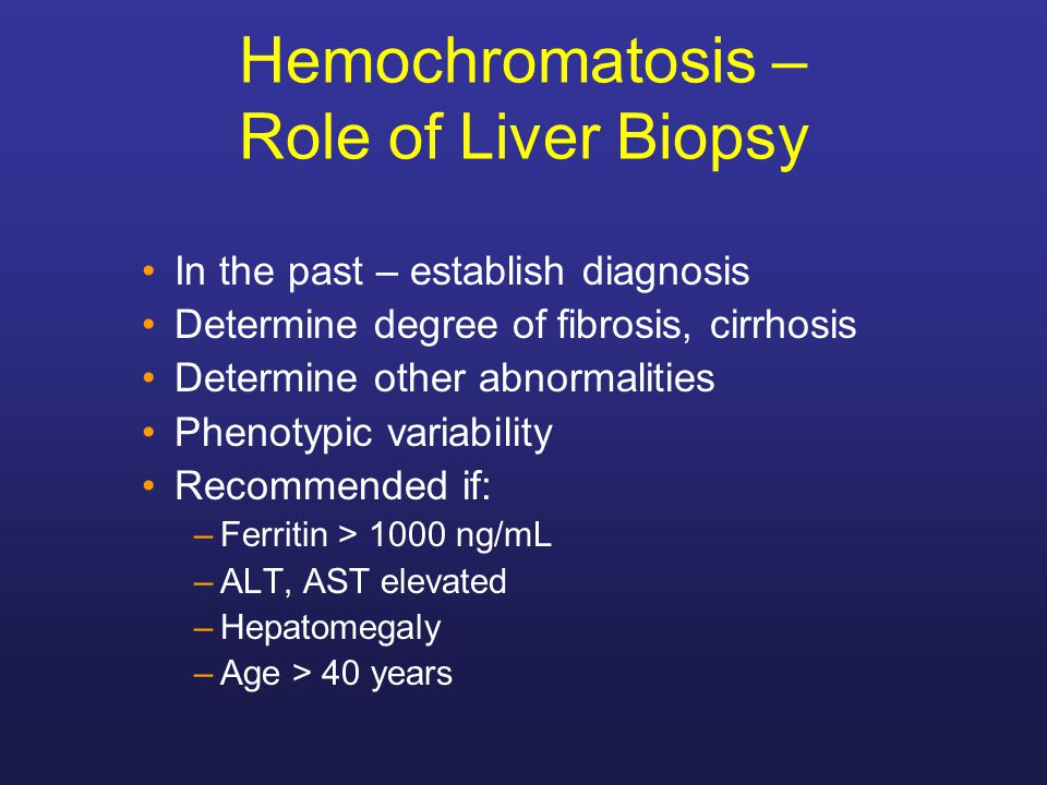 Hemochromatosis – Role of Liver Biopsy