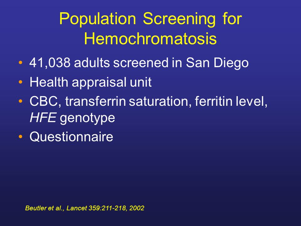 Population Screening for Hemochromatosis