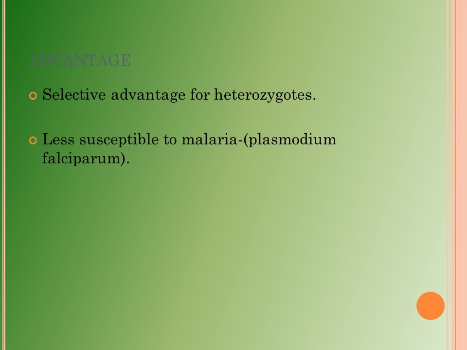advantage Selective advantage for heterozygotes.