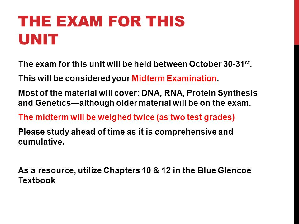 The exam for this unit