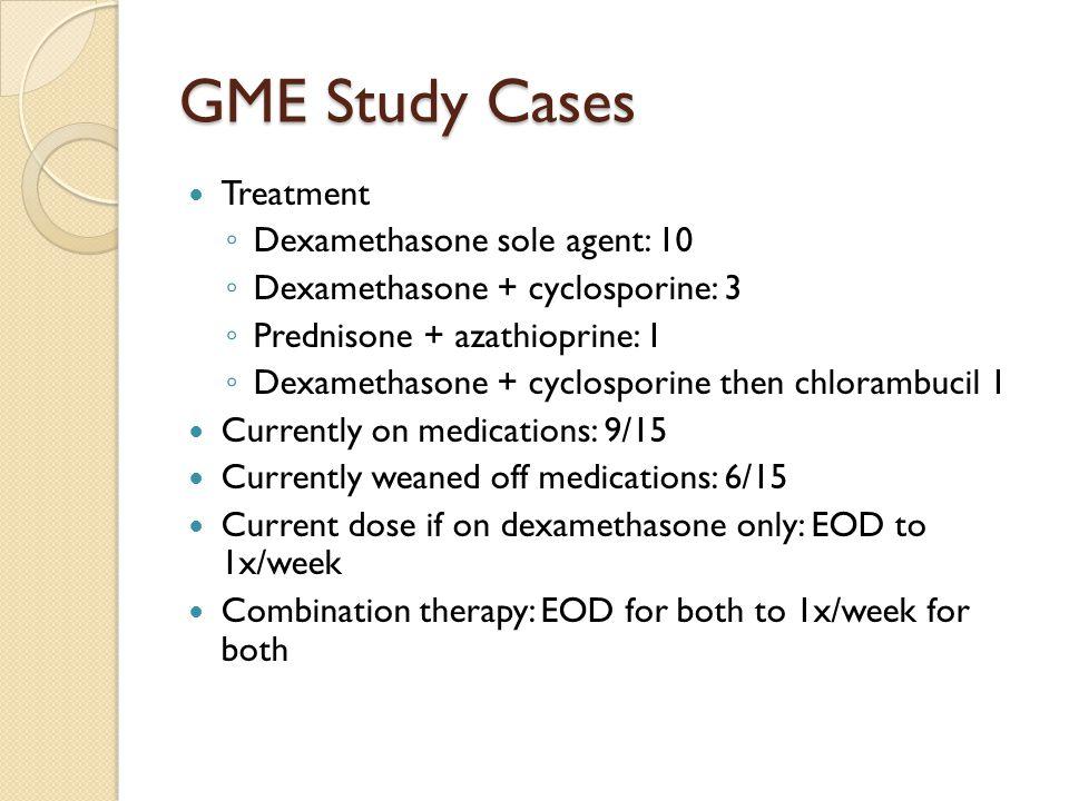 GME Study Cases Treatment Dexamethasone sole agent: 10