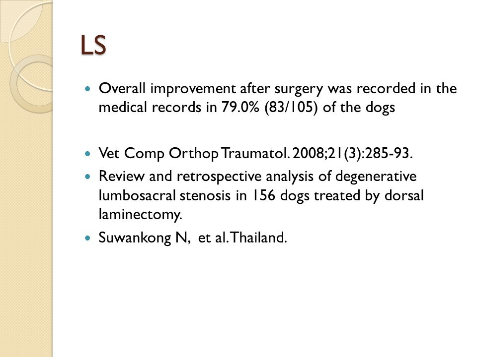 LS Overall improvement after surgery was recorded in the medical records in 79.0% (83/105) of the dogs.