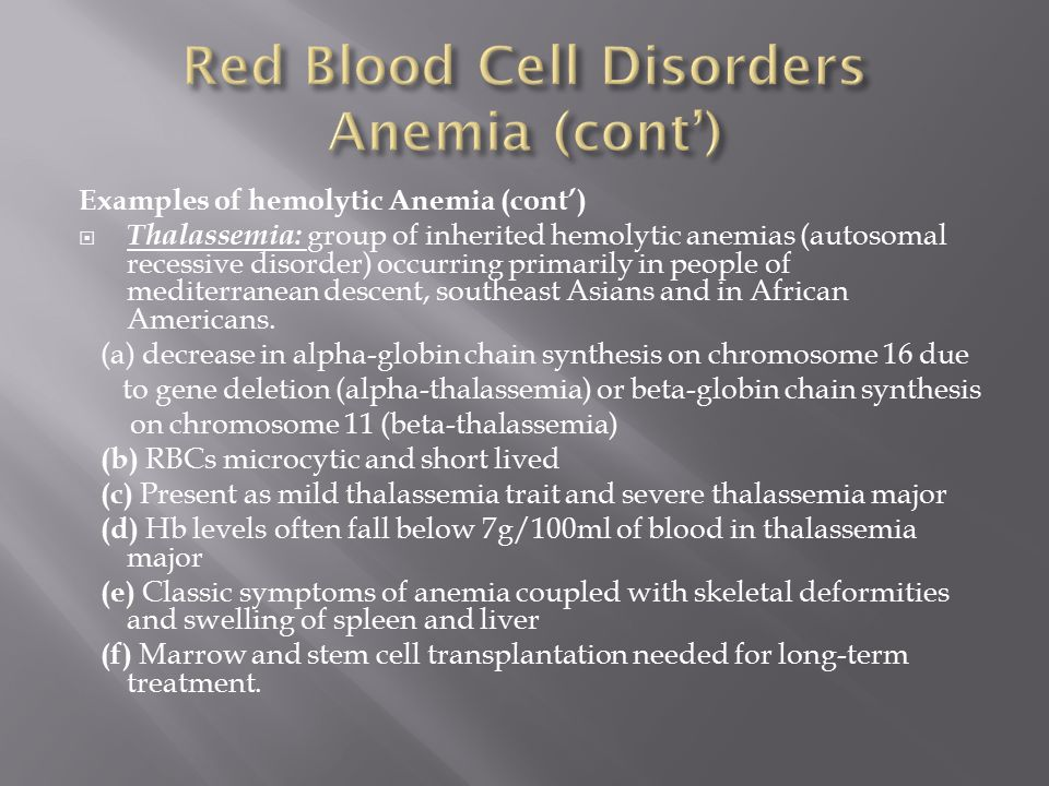Red Blood Cell Disorders Anemia (cont')