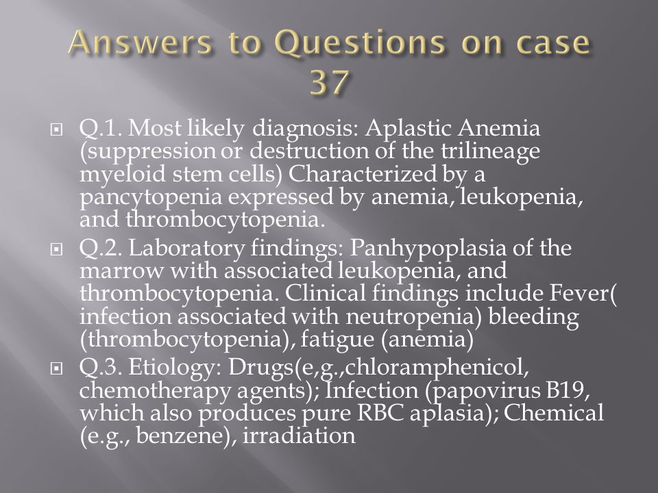 Answers to Questions on case 37