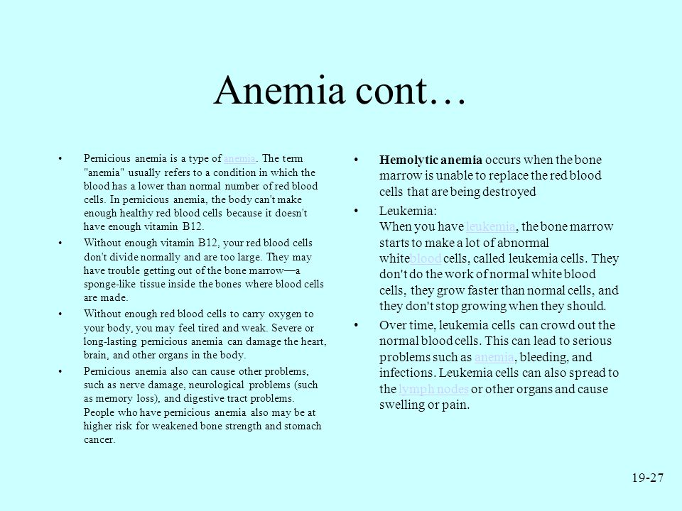 Anemia cont…