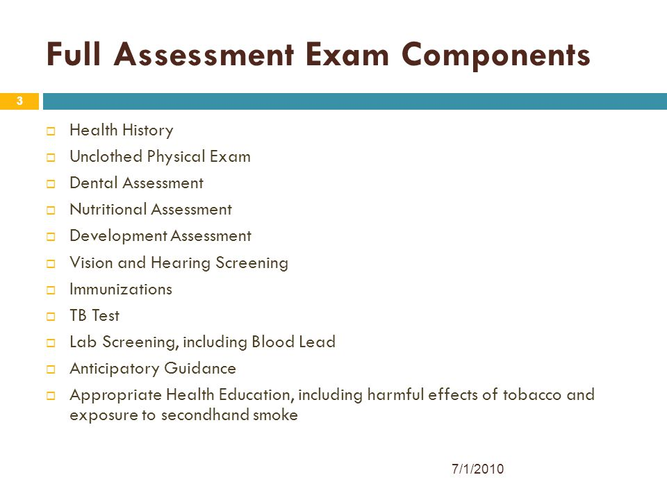 Full Assessment Exam Components