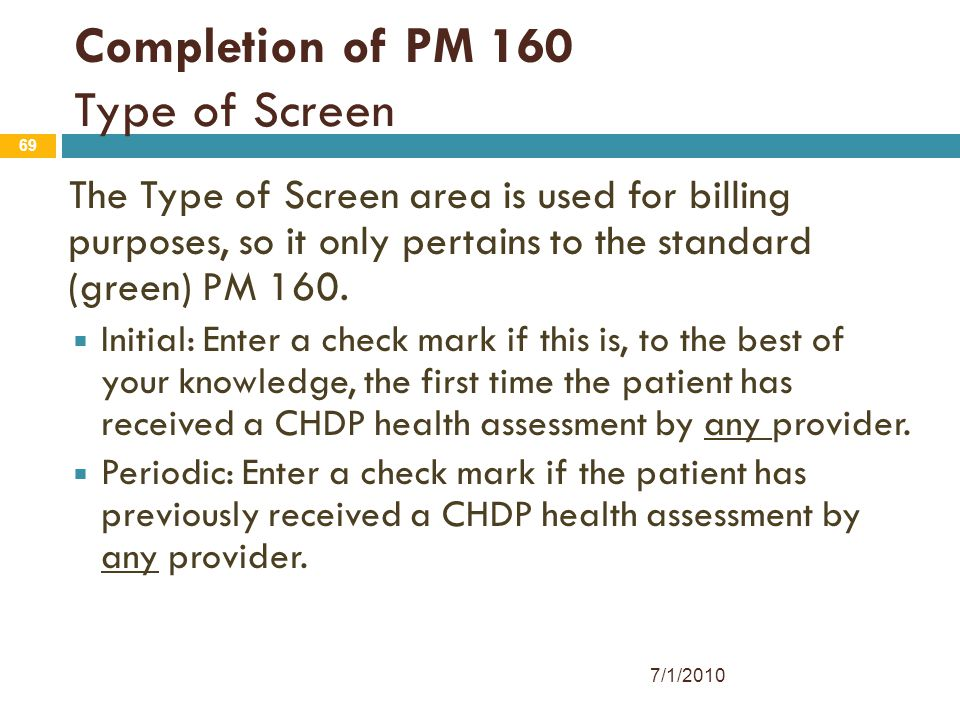 Completion of PM 160 Type of Screen
