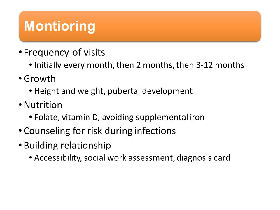 Montioring Frequency of visits Growth Nutrition