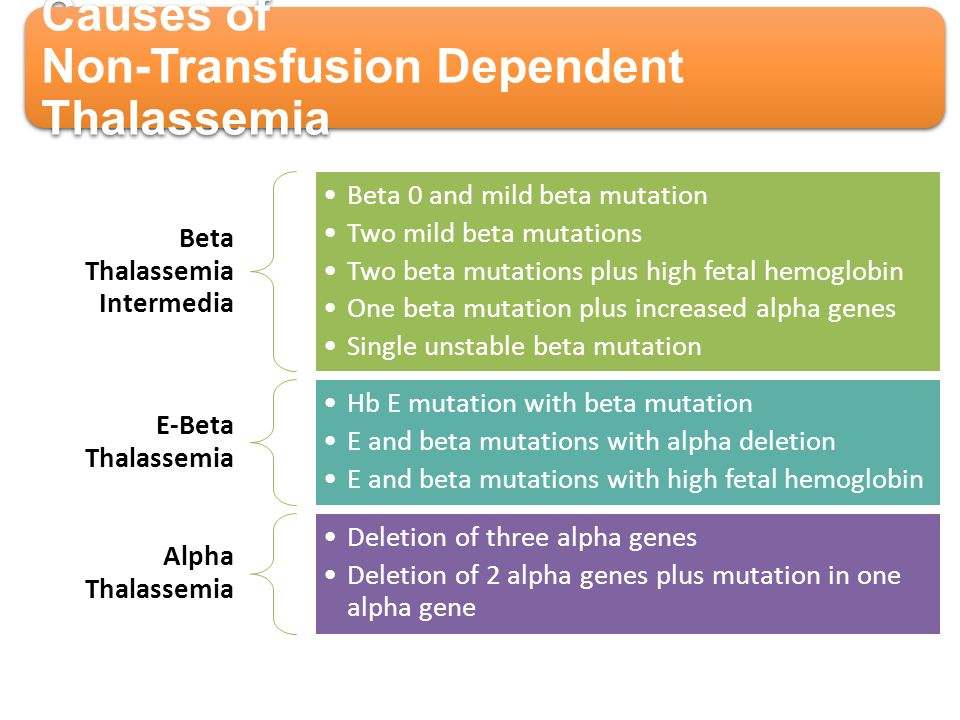 Causes of Non-Transfusion Dependent Thalassemia