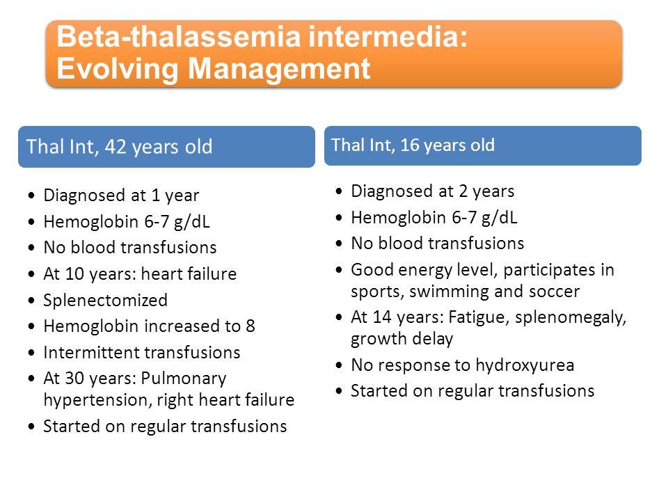 Beta-thalassemia intermedia: Evolving Management