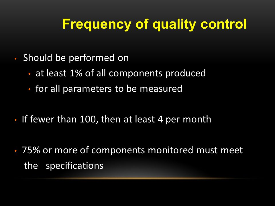 Frequency of quality control