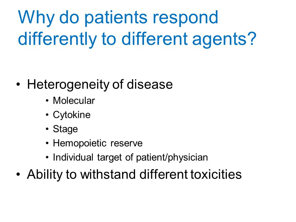 Why do patients respond differently to different agents