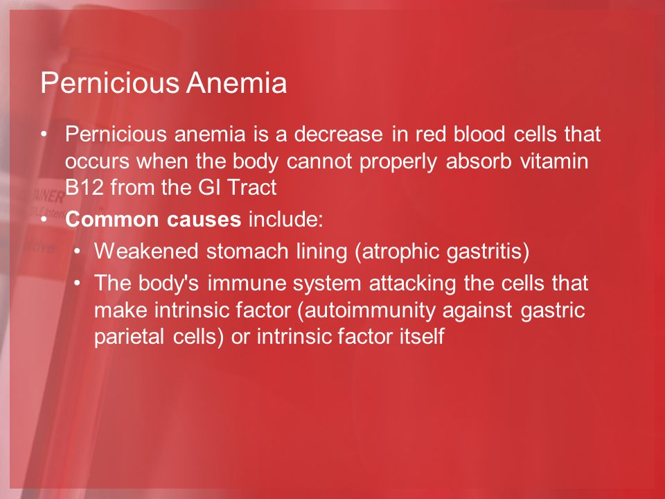 Pernicious Anemia Pernicious anemia is a decrease in red blood cells that occurs when the body cannot properly absorb vitamin B12 from the GI Tract.