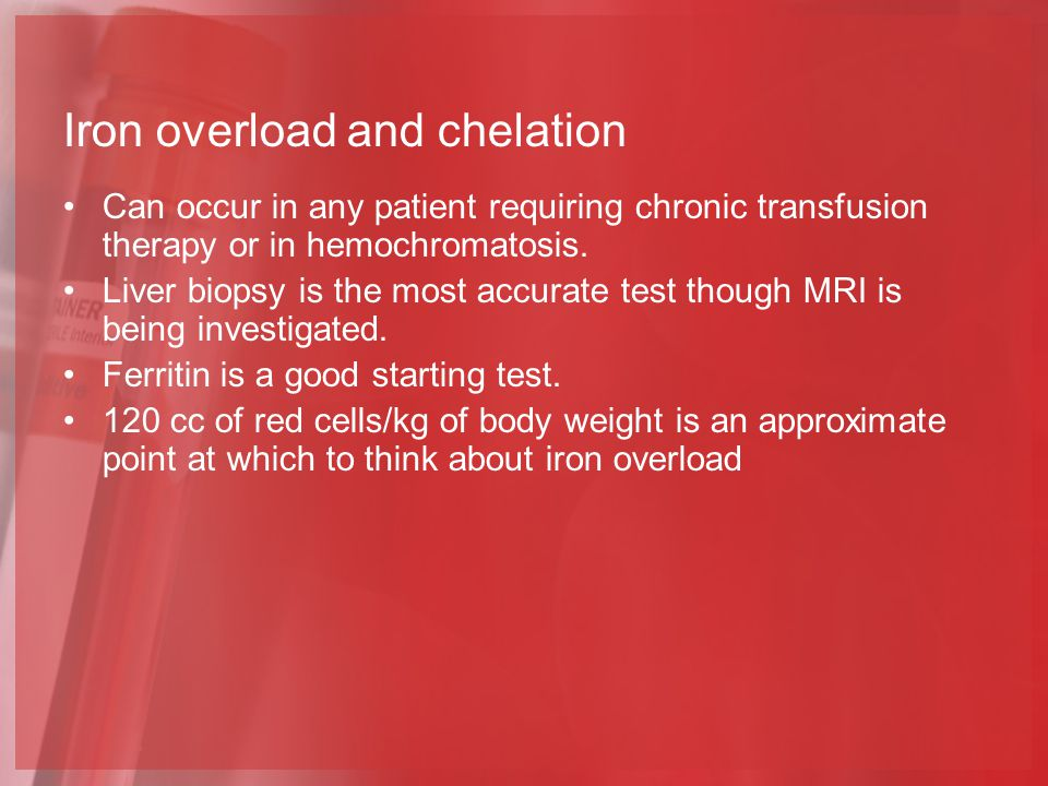 Iron overload and chelation