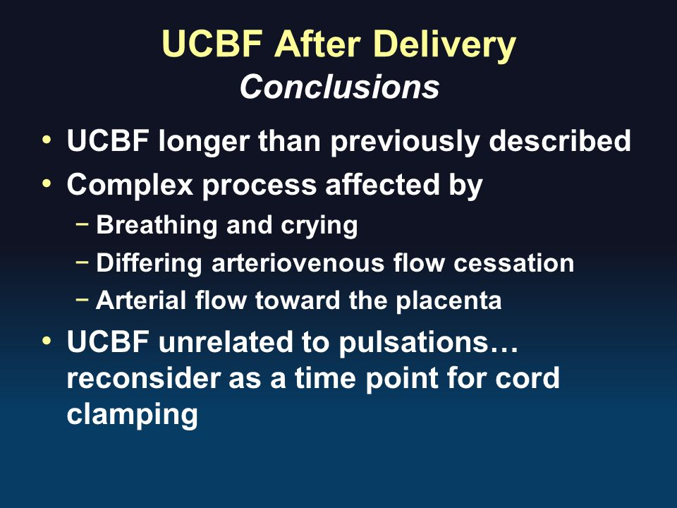 UCBF After Delivery Conclusions
